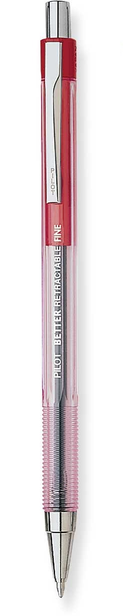 pilot better retractable ballpoint pen red fine
