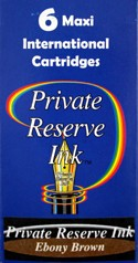 Private Reserve Ink Long Cartridges 6-pack Ebony Brown