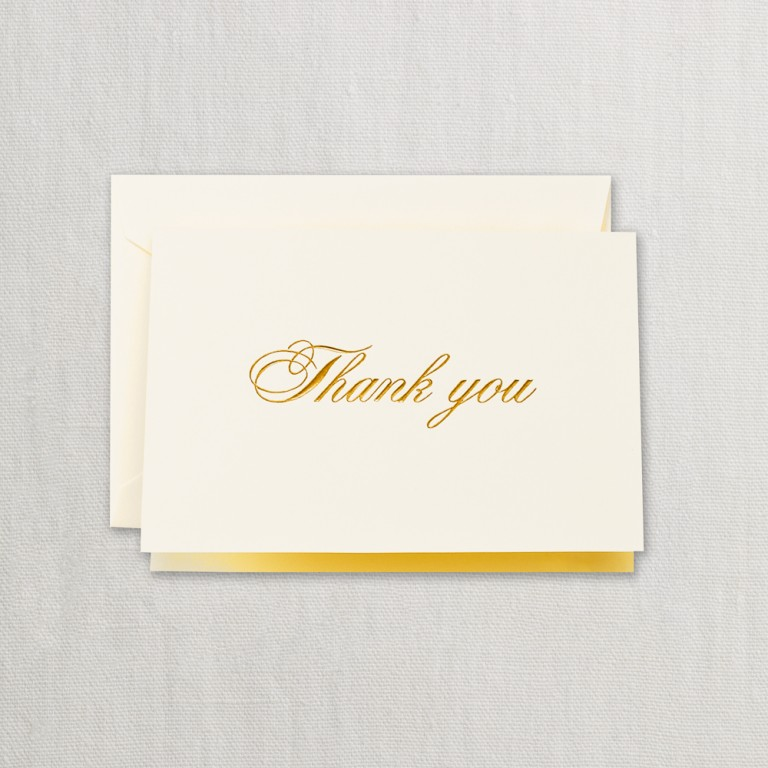 Gold Script Thank You Note