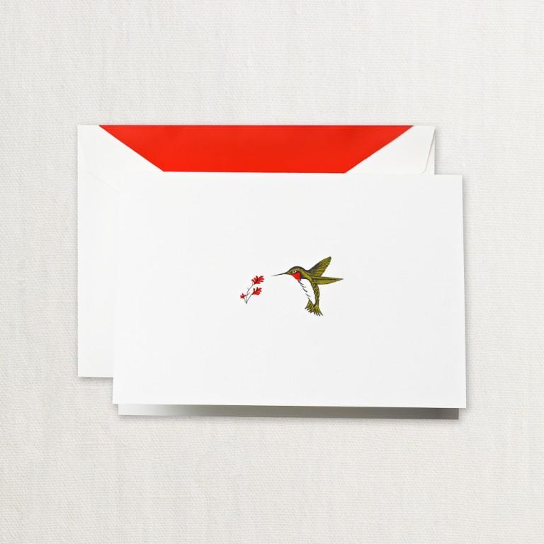 Crane Stationery Hand Engraved Hummingbird Note
