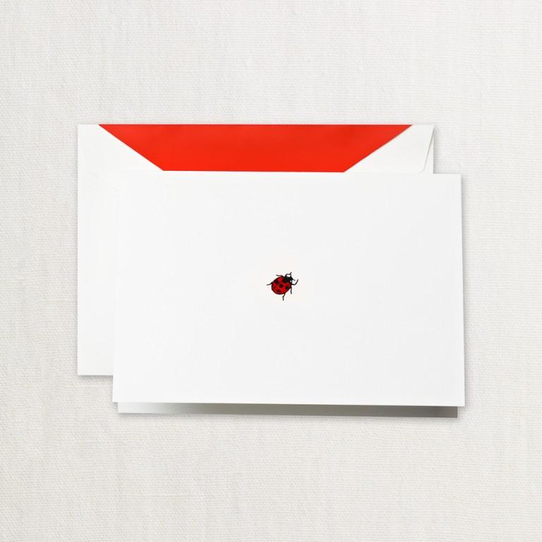 Crane Stationery Hand Engraved Ladybug Note