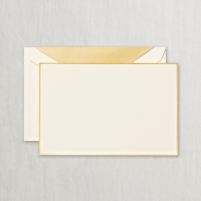 Gold Bordered Ecruwhite Correspondence Card
