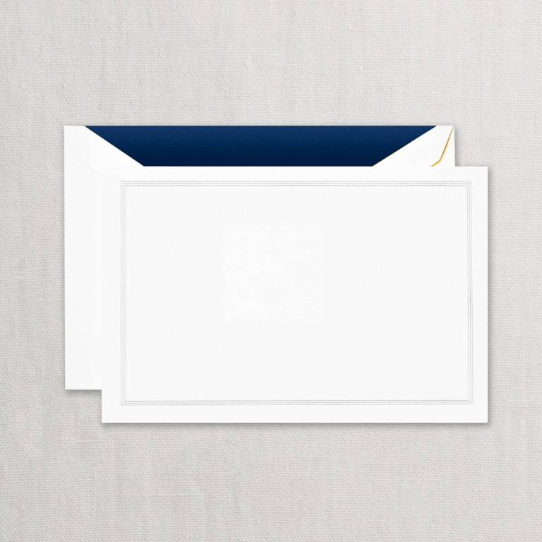 Navy Blue Triple Hairline Correspondence Card