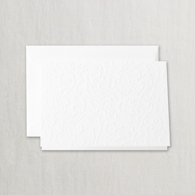 Pearl White Blind Embossed Note