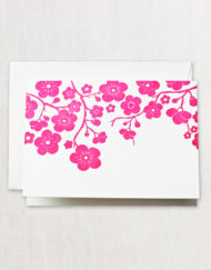 Letterpress Plum Blossom Note
