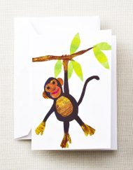 Paper Collage Monkey Notes - Crane Stationery