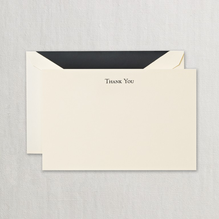Black Hand Engraved Thank You Cards