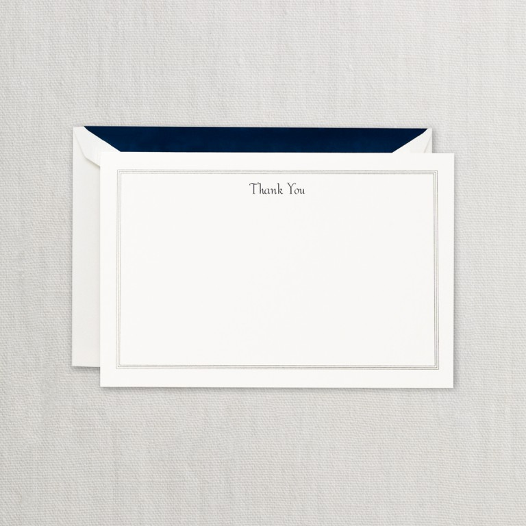 Navy Triple Hairline Thank You Card