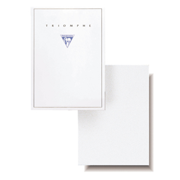 #6120 Clairefontaine Triomphe Stationery Pad 5 ¾ x 8 ¼ Blank White 50 sheets