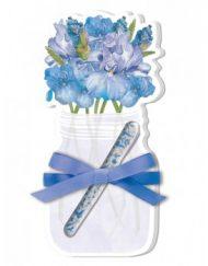 Lady Jayne Floral Vase Die-Cut Note Pads wPen - Blue Wild Flowers