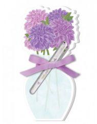 Lady Jayne Floral Vase Die-Cut Note Pads wPen - Purple Dahlias