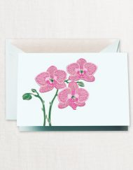 Crane Stationery Engraved Violet Orchid Note