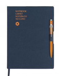 Caran D'Ache 849 BallPen Orange & A5 Blue Notebook