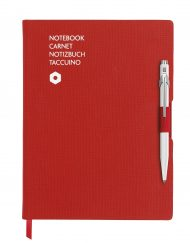Caran D'Ache 849 BallPen White & A5 Red Notebook