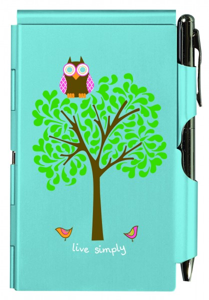 WELLPSRING FLIP NOTE TURQUOISE OWL