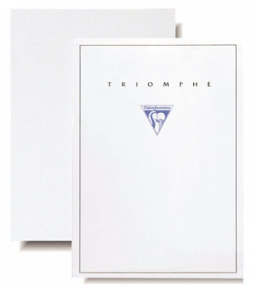 #6170 Clairefontaine Triomphe Stationery Pad 8 ¼ x 11 3/4 Blank White 50 sheets