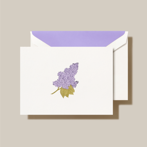 HAND ENGRAVED LILAC NOTE - CRANE STATIONERY